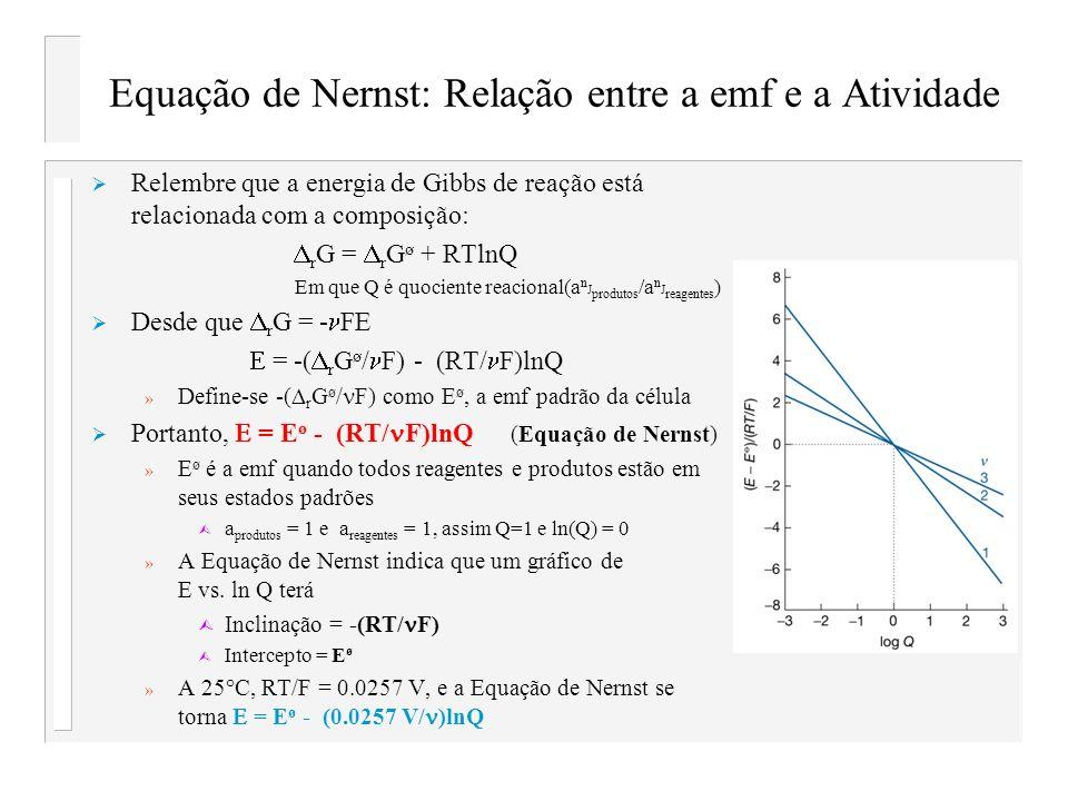 Equação de Nernst: Relação entre a emf e a Atividade Relembre que a energia de Gibbs de reação está relacionada com a composição: r G = r G ø + RTlnQ