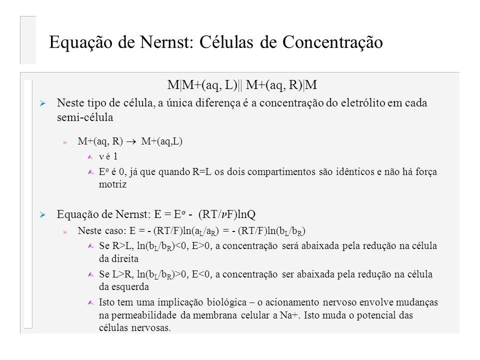 Equação de Nernst: Células de Concentração M M+(aq, L)   M+(aq, R) M Neste tipo de célula, a única diferença é a concentração do eletrólito em cada se