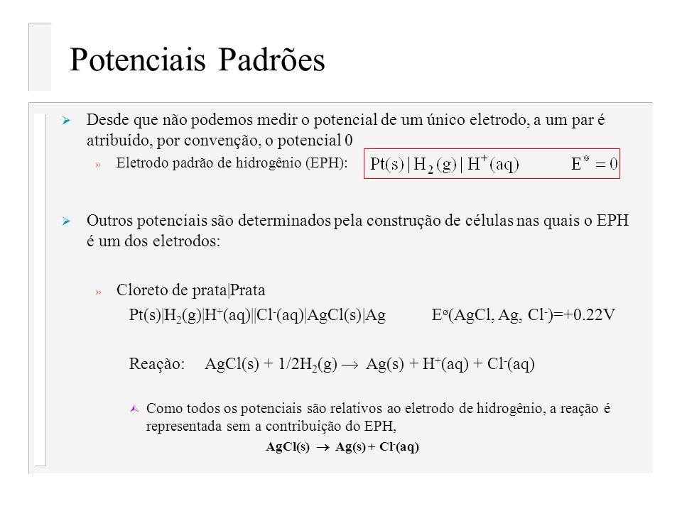 Potenciais Padrões Desde que não podemos medir o potencial de um único eletrodo, a um par é atribuído, por convenção, o potencial 0 » Eletrodo padrão
