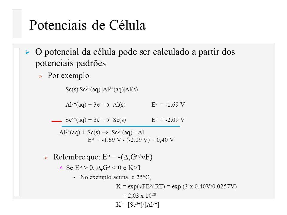 Potenciais de Célula O potencial da célula pode ser calculado a partir dos potenciais padrões » Por exemplo Sc(s) Sc 3+ (aq)  Al 3+ (aq) Al(s) Al 3+ (