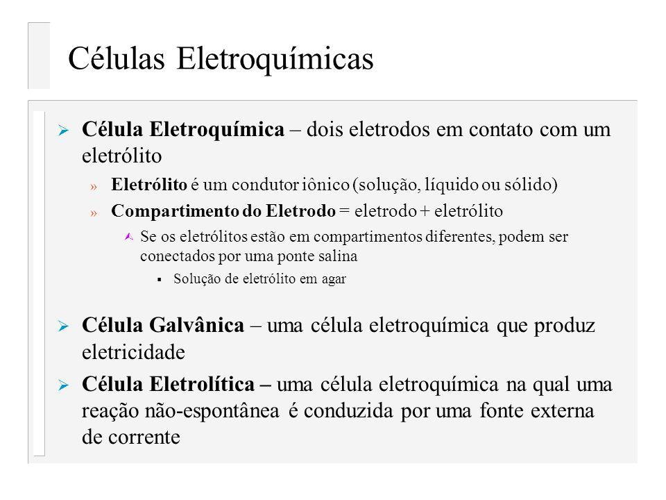 Células Eletroquímicas Célula Eletroquímica – dois eletrodos em contato com um eletrólito » Eletrólito é um condutor iônico (solução, líquido ou sólid