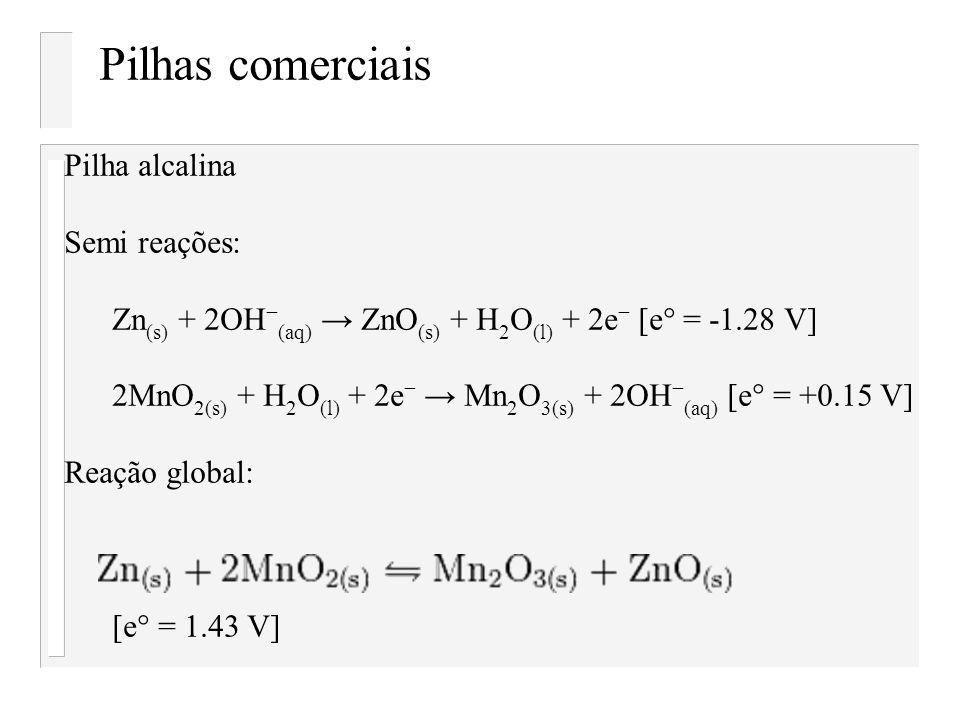Pilhas comerciais Pilha alcalina Semi reações: Zn (s) + 2OH (aq) ZnO (s) + H 2 O (l) + 2e [e° = -1.28 V] 2MnO 2(s) + H 2 O (l) + 2e Mn 2 O 3(s) + 2OH