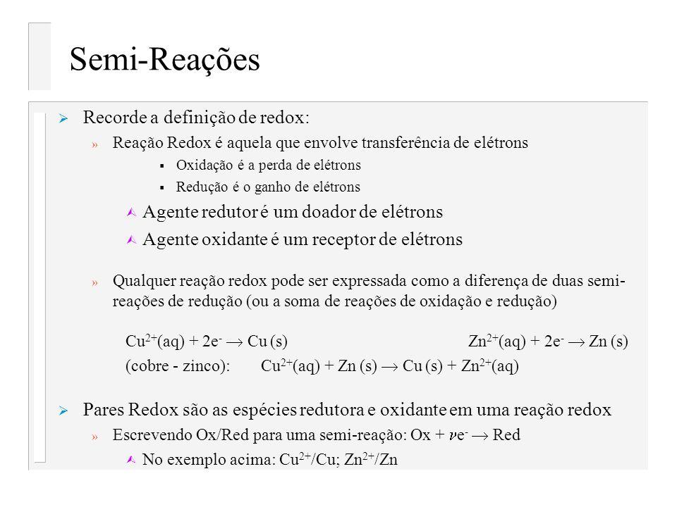 Semi-Reações Recorde a definição de redox: » Reação Redox é aquela que envolve transferência de elétrons Oxidação é a perda de elétrons Redução é o ga