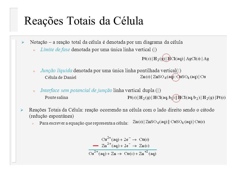 Reações Totais da Célula Notação – a reação total da célula é denotada por um diagrama da célula » Limite de fase denotada por uma única linha vertica