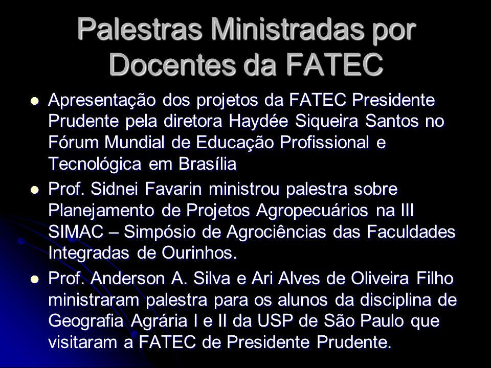 Palestras Ministradas por Docentes da FATEC Apresentação dos projetos da FATEC Presidente Prudente pela diretora Haydée Siqueira Santos no Fórum Mundi