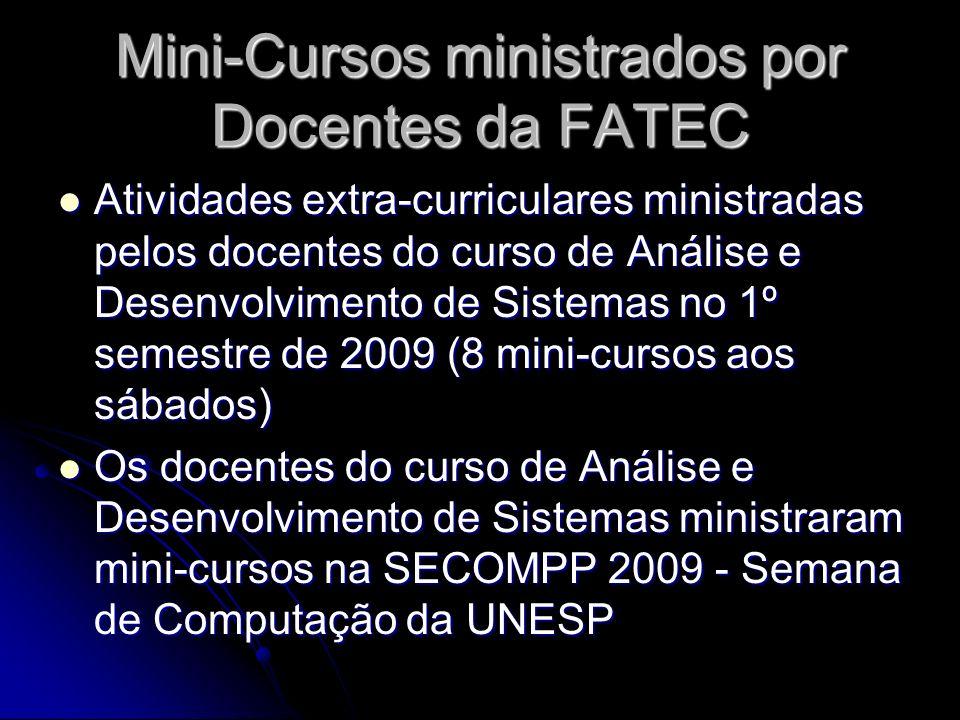 Mini-Cursos ministrados por Docentes da FATEC Atividades extra-curriculares ministradas pelos docentes do curso de Análise e Desenvolvimento de Sistem