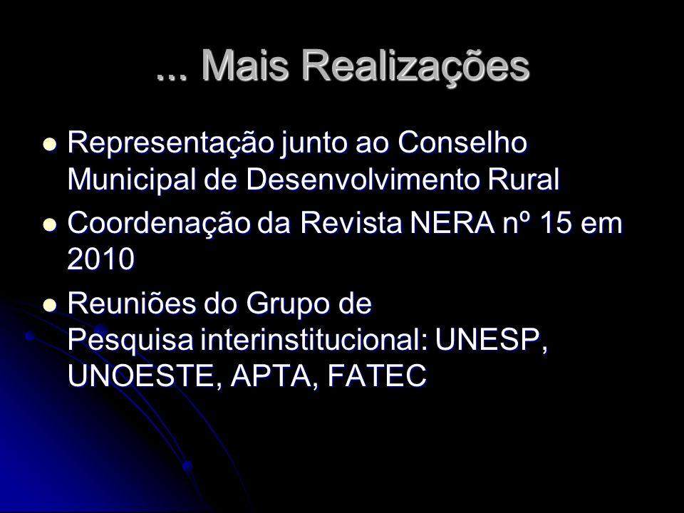 ... Mais Realizações Representação junto ao Conselho Municipal de Desenvolvimento Rural Representação junto ao Conselho Municipal de Desenvolvimento R