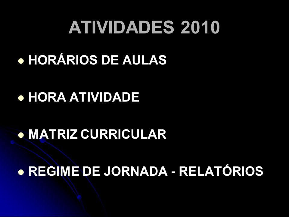 ATIVIDADES 2010 HORÁRIOS DE AULAS HORA ATIVIDADE MATRIZ CURRICULAR REGIME DE JORNADA - RELATÓRIOS