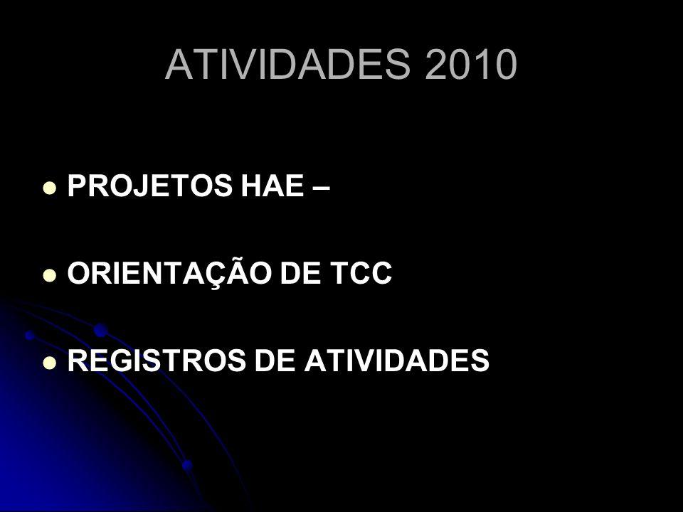 ATIVIDADES 2010 PROJETOS HAE – ORIENTAÇÃO DE TCC REGISTROS DE ATIVIDADES