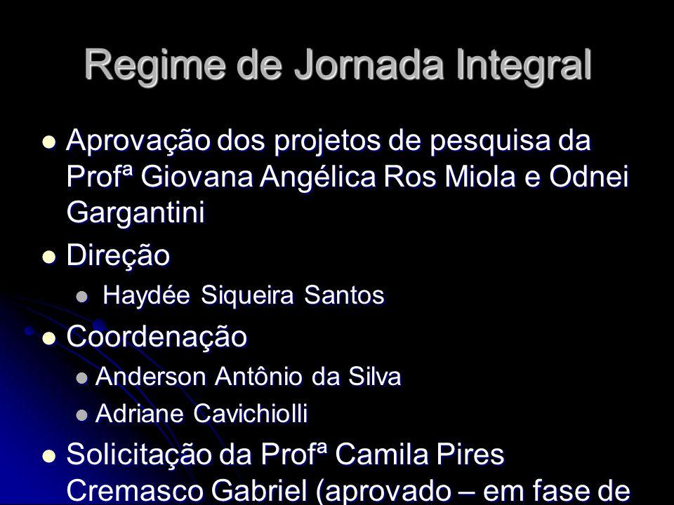 Regime de Jornada Integral Aprovação dos projetos de pesquisa da Profª Giovana Angélica Ros Miola e Odnei Gargantini Aprovação dos projetos de pesquis