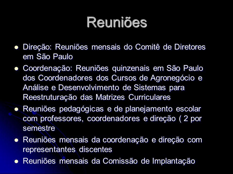 Reuniões Direção: Reuniões mensais do Comitê de Diretores em São Paulo Direção: Reuniões mensais do Comitê de Diretores em São Paulo Coordenação: Reun