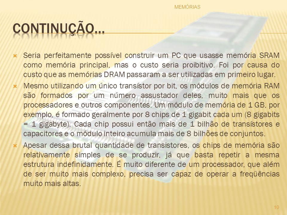 Seria perfeitamente possível construir um PC que usasse memória SRAM como memória principal, mas o custo seria proibitivo. Foi por causa do custo que