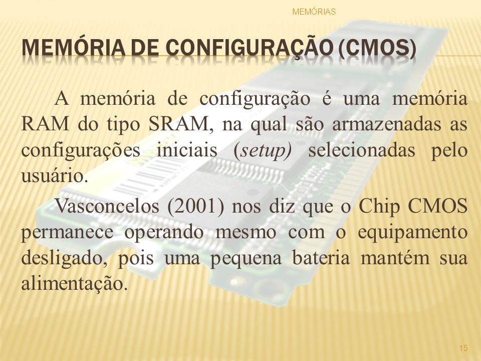 A memória de configuração é uma memória RAM do tipo SRAM, na qual são armazenadas as configurações iniciais (setup) selecionadas pelo usuário. Vasconc