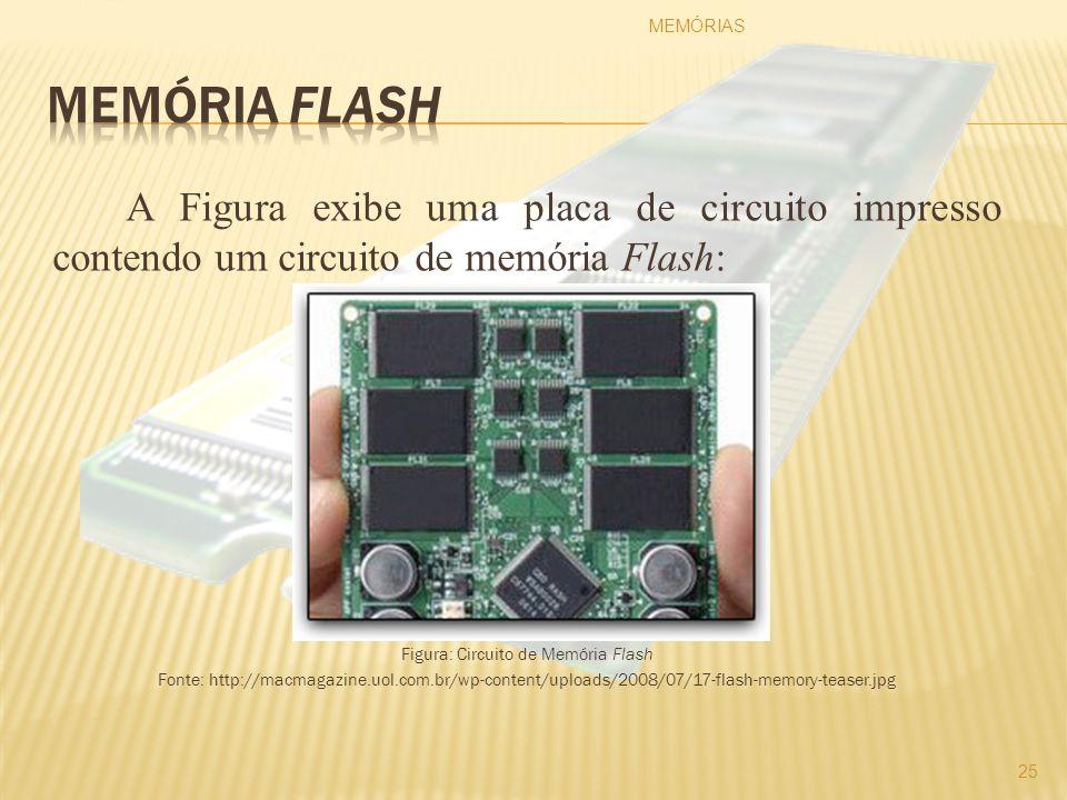 A Figura exibe uma placa de circuito impresso contendo um circuito de memória Flash: Figura: Circuito de Memória Flash Fonte: http://macmagazine.uol.c