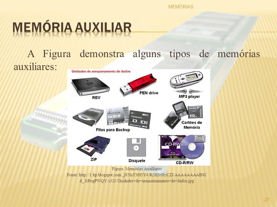 A Figura demonstra alguns tipos de memórias auxiliares: Figura: Memórias Auxiliares Fonte: http://1.bp.blogspot.com/_j8YnT36f3Y4/R2H3r9IyCZI/AAAAAAAAB