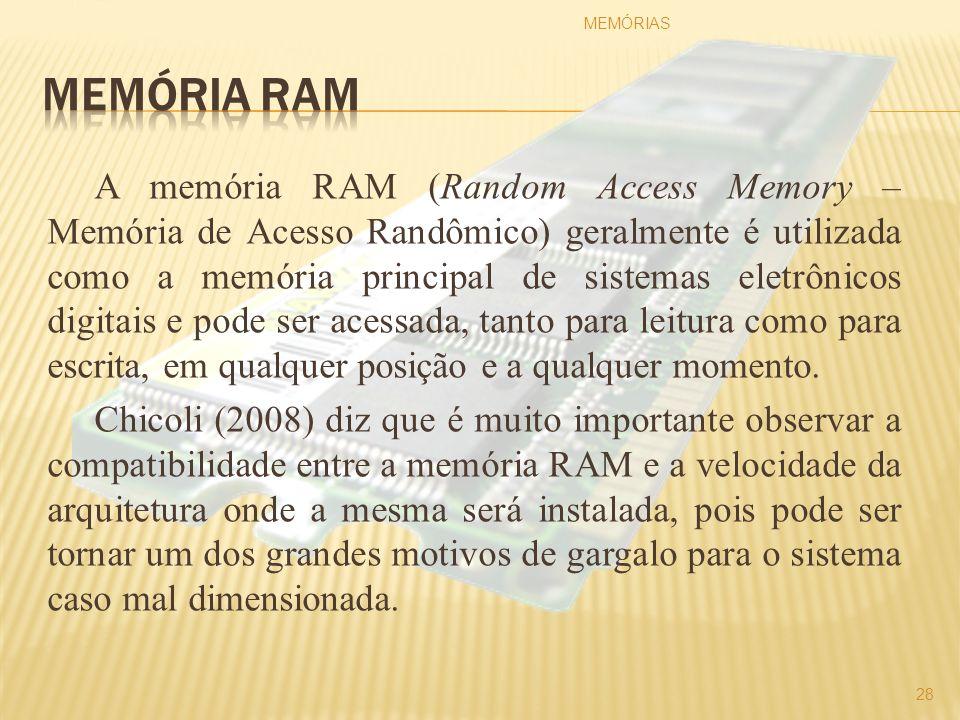 A memória RAM (Random Access Memory – Memória de Acesso Randômico) geralmente é utilizada como a memória principal de sistemas eletrônicos digitais e