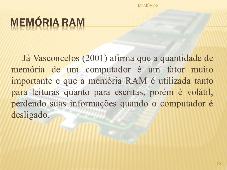 Já Vasconcelos (2001) afirma que a quantidade de memória de um computador é um fator muito importante e que a memória RAM é utilizada tanto para leitu
