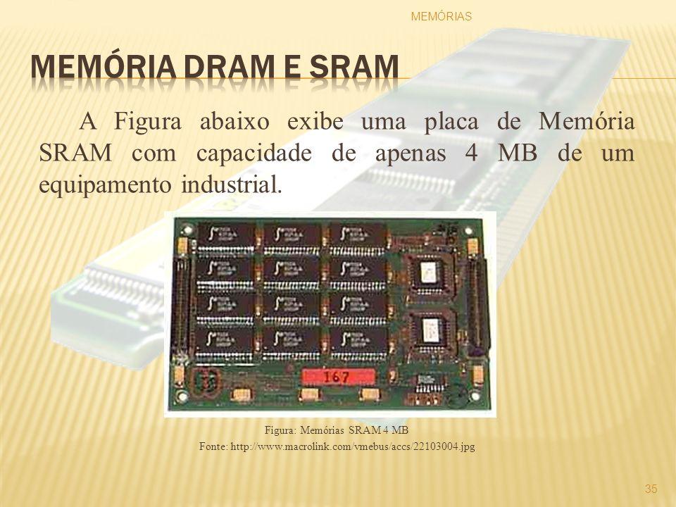 A Figura abaixo exibe uma placa de Memória SRAM com capacidade de apenas 4 MB de um equipamento industrial. Figura: Memórias SRAM 4 MB Fonte: http://w