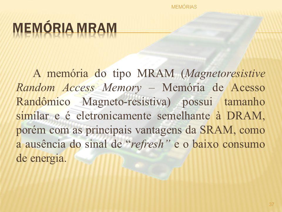 A memória do tipo MRAM (Magnetoresistive Random Access Memory – Memória de Acesso Randômico Magneto-resistiva) possui tamanho similar e é eletronicame