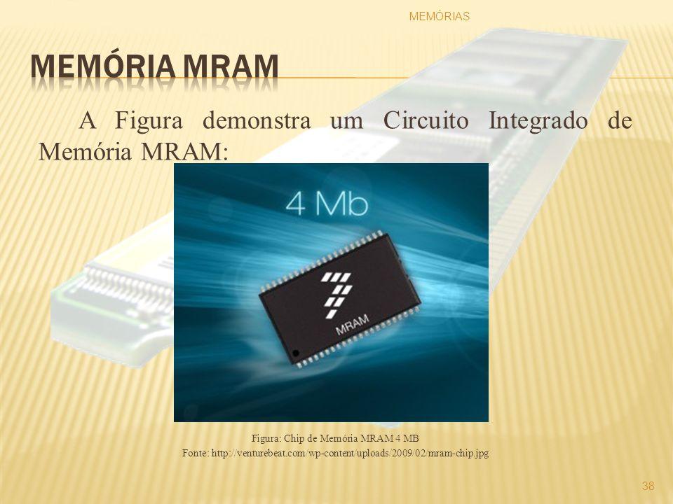 A Figura demonstra um Circuito Integrado de Memória MRAM: Figura: Chip de Memória MRAM 4 MB Fonte: http://venturebeat.com/wp-content/uploads/2009/02/m