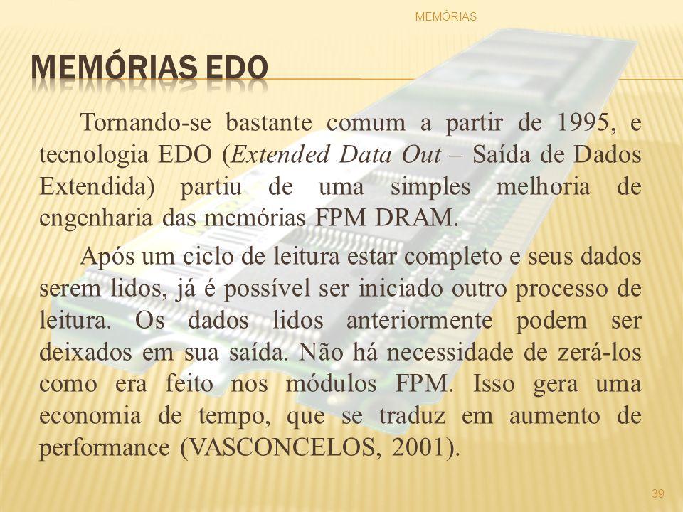 Tornando-se bastante comum a partir de 1995, e tecnologia EDO (Extended Data Out – Saída de Dados Extendida) partiu de uma simples melhoria de engenha