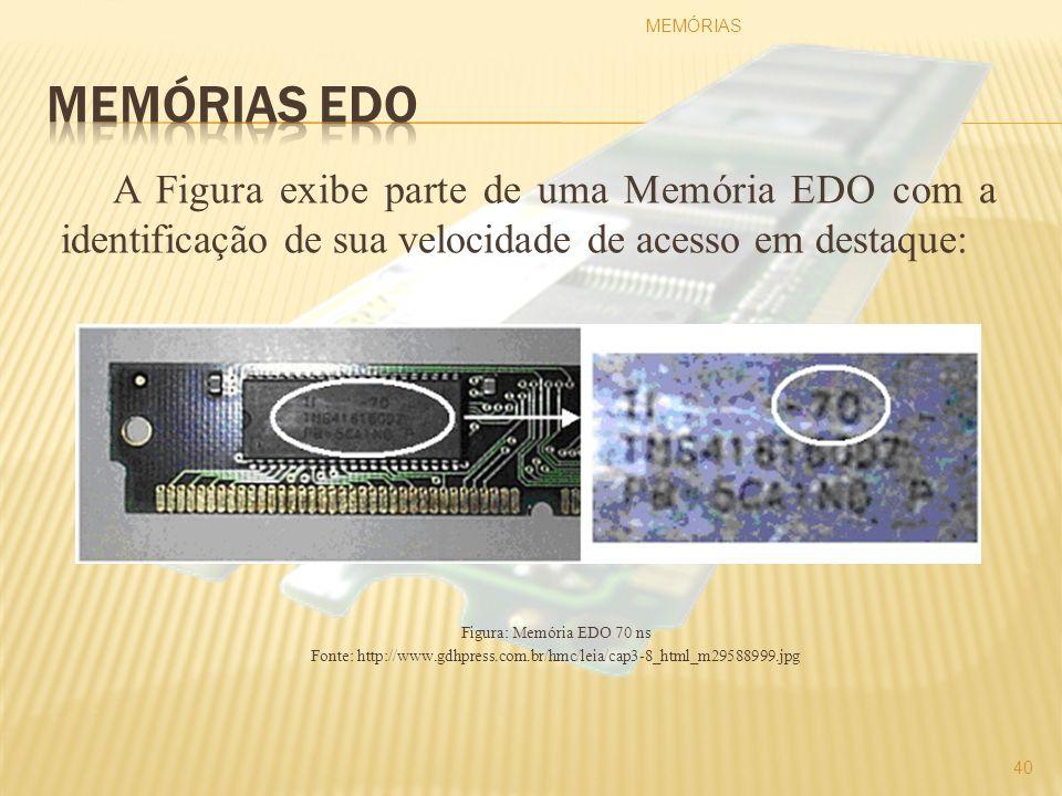 A Figura exibe parte de uma Memória EDO com a identificação de sua velocidade de acesso em destaque: Figura: Memória EDO 70 ns Fonte: http://www.gdhpr