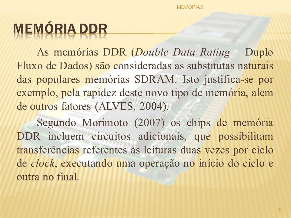 As memórias DDR (Double Data Rating – Duplo Fluxo de Dados) são consideradas as substitutas naturais das populares memórias SDRAM. Isto justifica-se p