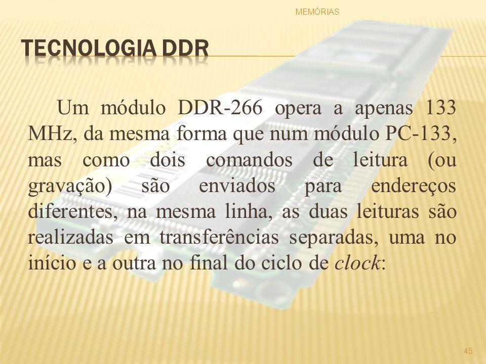 Um módulo DDR-266 opera a apenas 133 MHz, da mesma forma que num módulo PC-133, mas como dois comandos de leitura (ou gravação) são enviados para ende