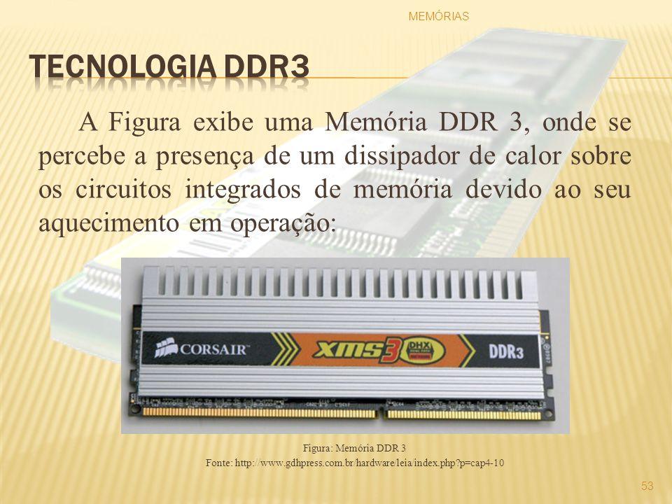 A Figura exibe uma Memória DDR 3, onde se percebe a presença de um dissipador de calor sobre os circuitos integrados de memória devido ao seu aquecime