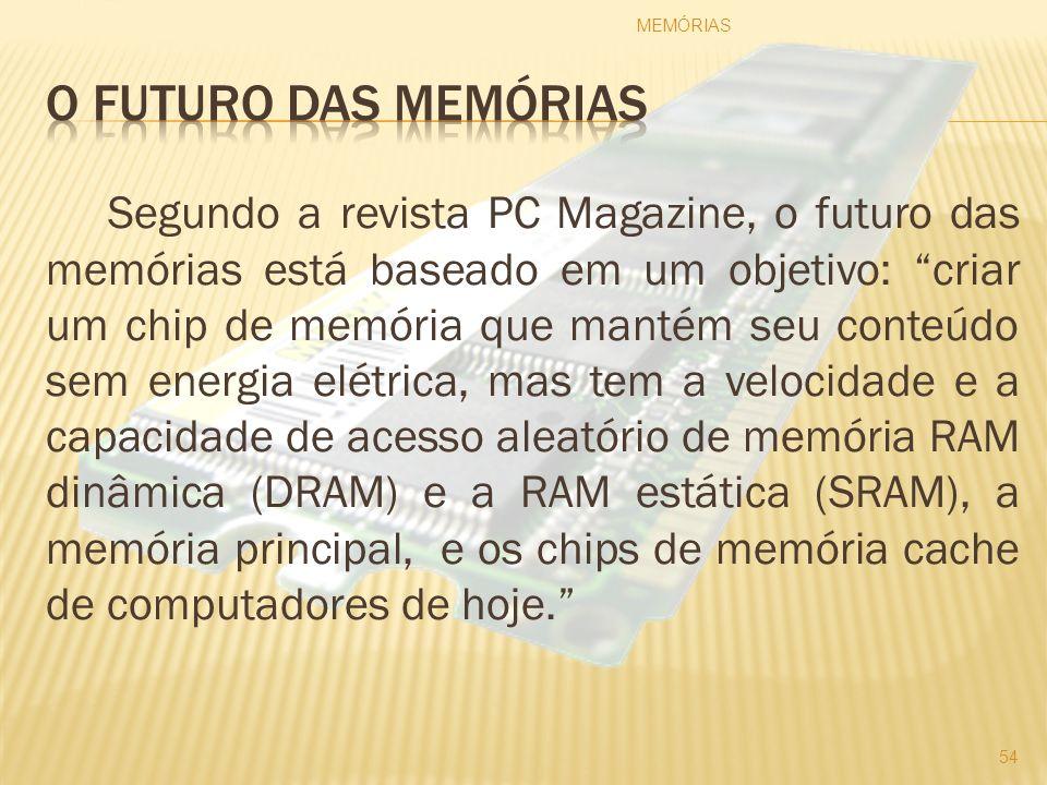 Segundo a revista PC Magazine, o futuro das memórias está baseado em um objetivo: criar um chip de memória que mantém seu conteúdo sem energia elétric
