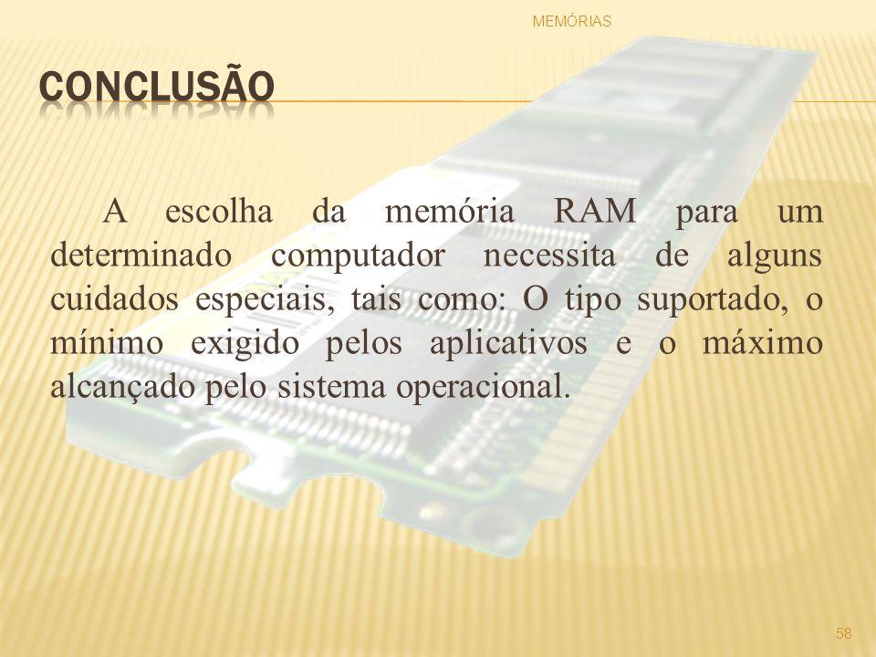 A escolha da memória RAM para um determinado computador necessita de alguns cuidados especiais, tais como: O tipo suportado, o mínimo exigido pelos ap