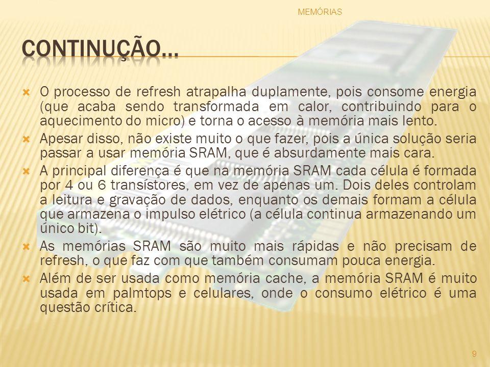 A Figura exibe parte de uma Memória EDO com a identificação de sua velocidade de acesso em destaque: Figura: Memória EDO 70 ns Fonte: http://www.gdhpress.com.br/hmc/leia/cap3-8_html_m29588999.jpg MEMÓRIAS 40