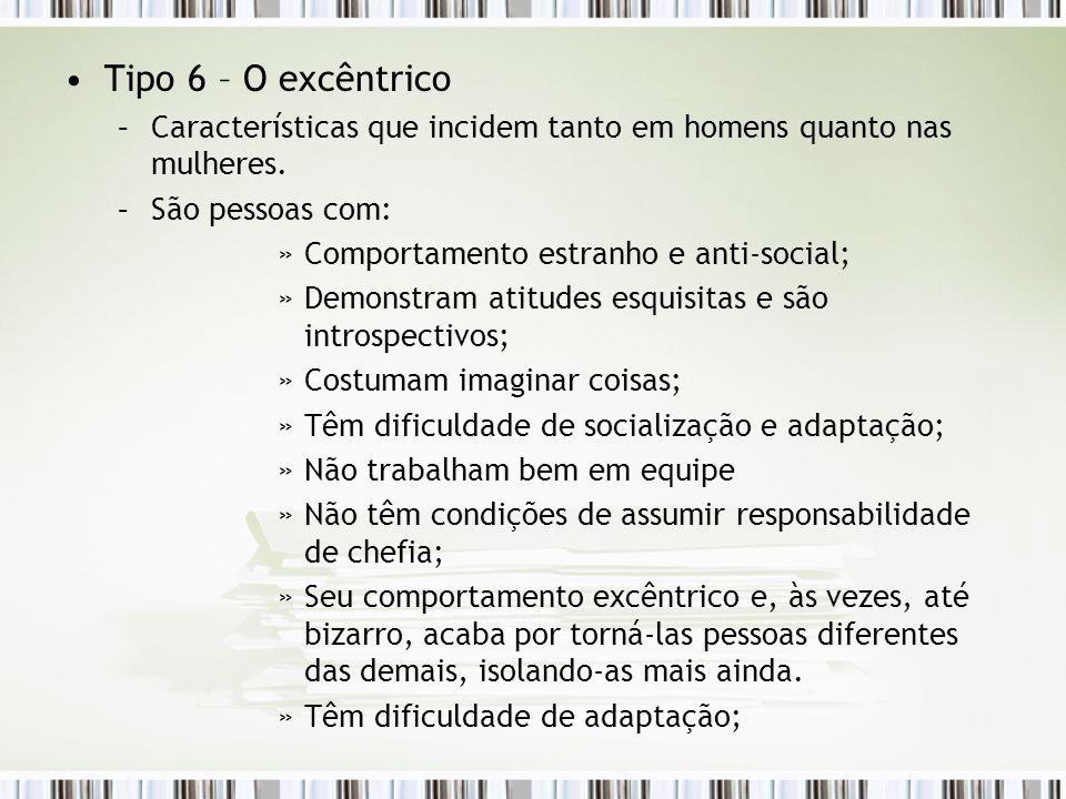 Tipo 6 – O excêntrico –Características que incidem tanto em homens quanto nas mulheres. –São pessoas com: »Comportamento estranho e anti-social; »Demo