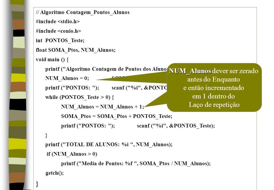 // Algoritmo Contagem_Pontos_Alunos #include int PONTOS_Teste; float SOMA_Ptos, NUM_Alunos; void main () { printf (