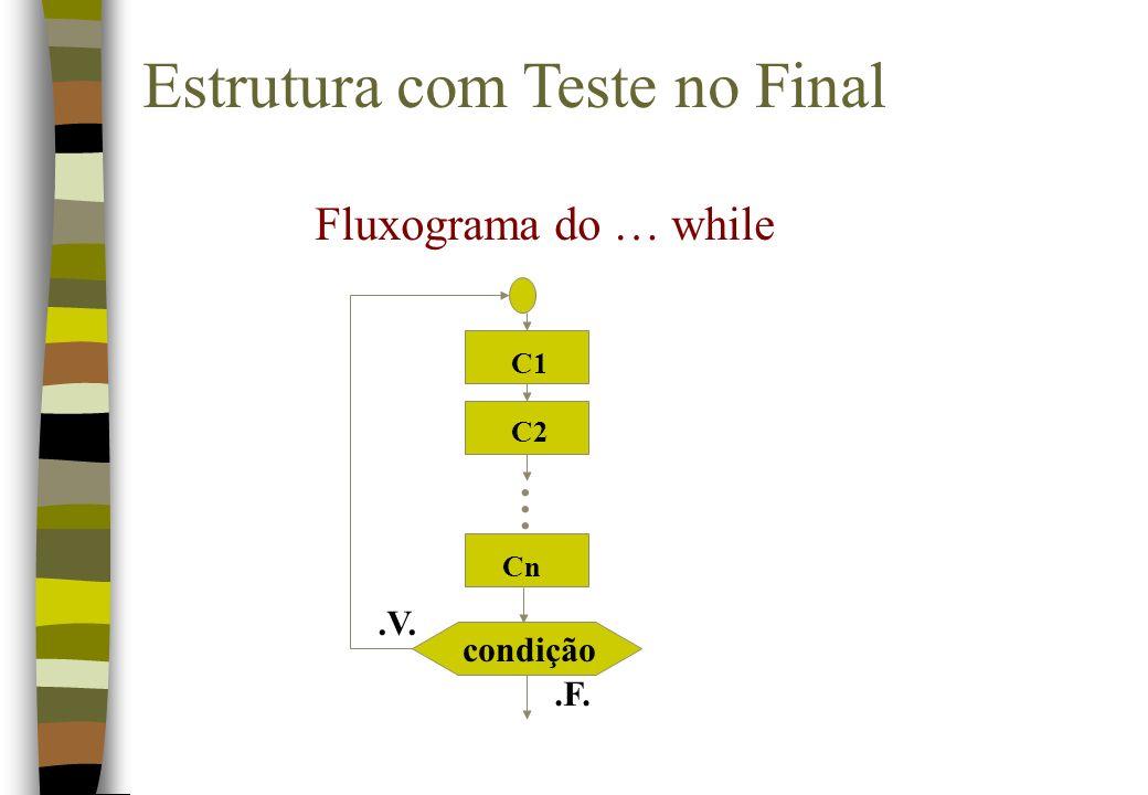 Estrutura com Teste no Final condição.F..V. Fluxograma do … while... C1 C2 Cn