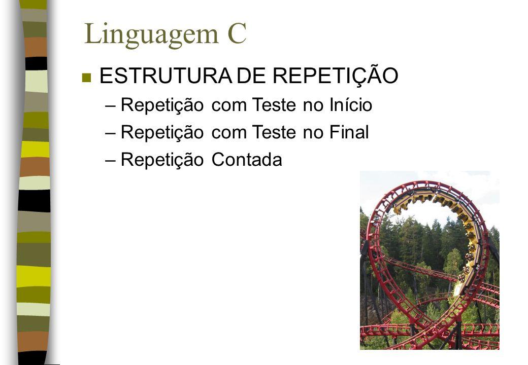 Linguagem C n ESTRUTURA DE REPETIÇÃO –Repetição com Teste no Início –Repetição com Teste no Final –Repetição Contada