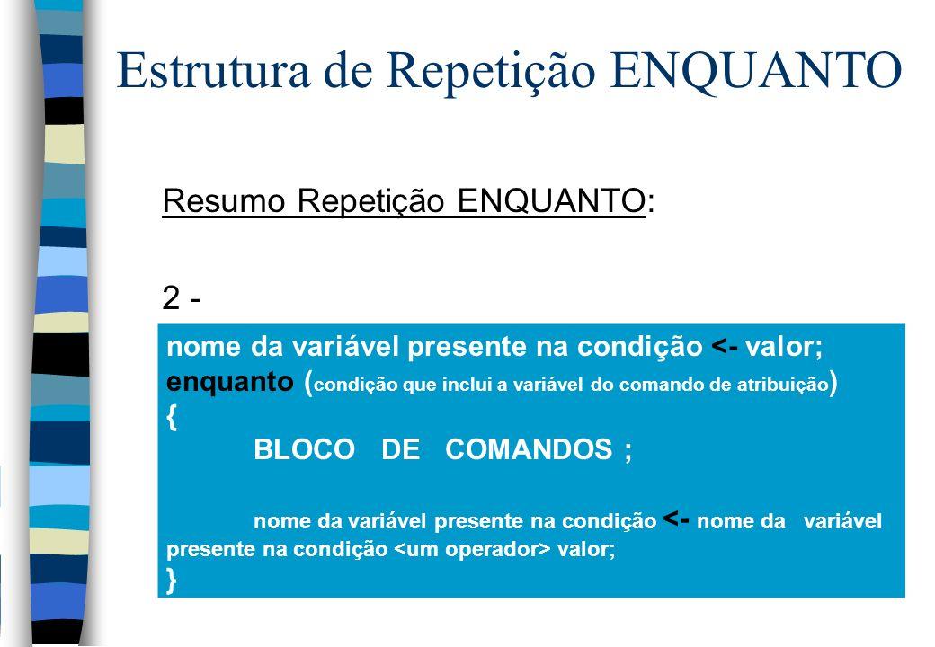 Resumo Repetição ENQUANTO: 2 - nome da variável presente na condição <- valor; enquanto ( condição que inclui a variável do comando de atribuição ) {