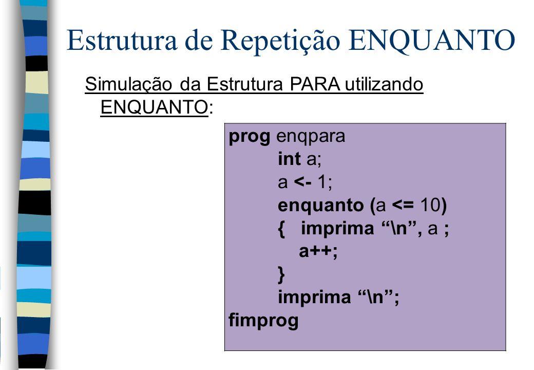 Simulação da Estrutura PARA utilizando ENQUANTO: Estrutura de Repetição ENQUANTO prog enqpara int a; a <- 1; enquanto (a <= 10) { imprima \n, a ; a++;