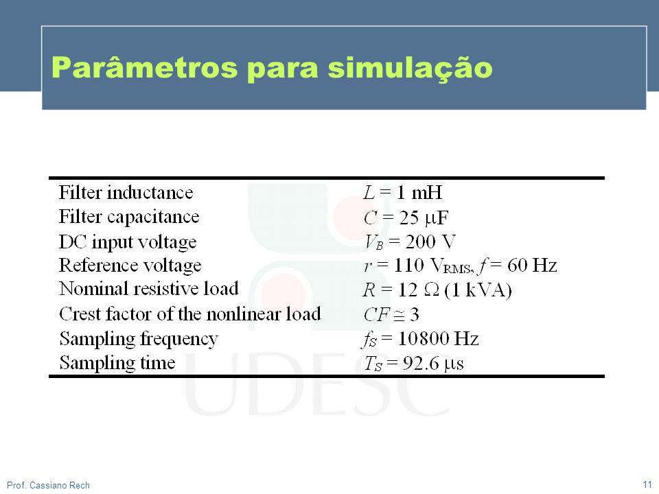 11 Prof. Cassiano Rech Parâmetros para simulação