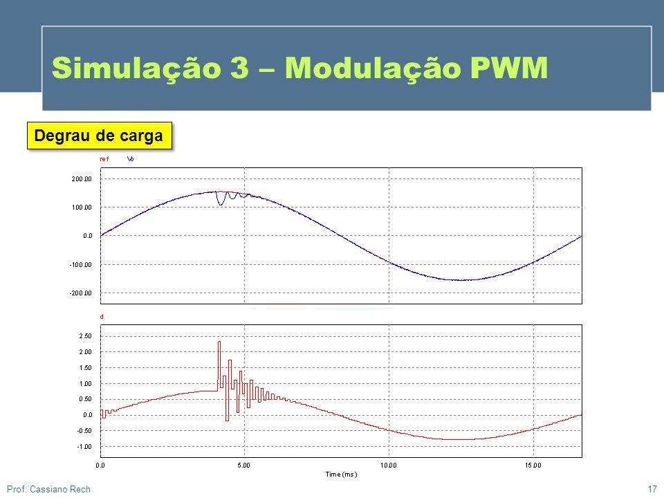 17 Prof. Cassiano Rech Degrau de carga Simulação 3 – Modulação PWM