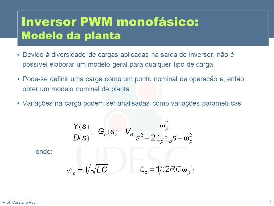 3 Prof. Cassiano Rech Inversor PWM monofásico: Modelo da planta Devido à diversidade de cargas aplicadas na saída do inversor, não é possível elaborar