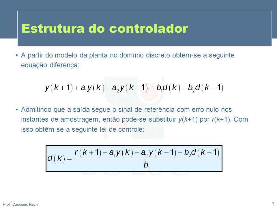 7 Prof. Cassiano Rech Estrutura do controlador A partir do modelo da planta no domínio discreto obtém-se a seguinte equação diferença: Admitindo que a