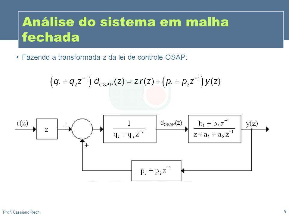 9 Prof. Cassiano Rech Análise do sistema em malha fechada Fazendo a transformada z da lei de controle OSAP: d OSAP (z)