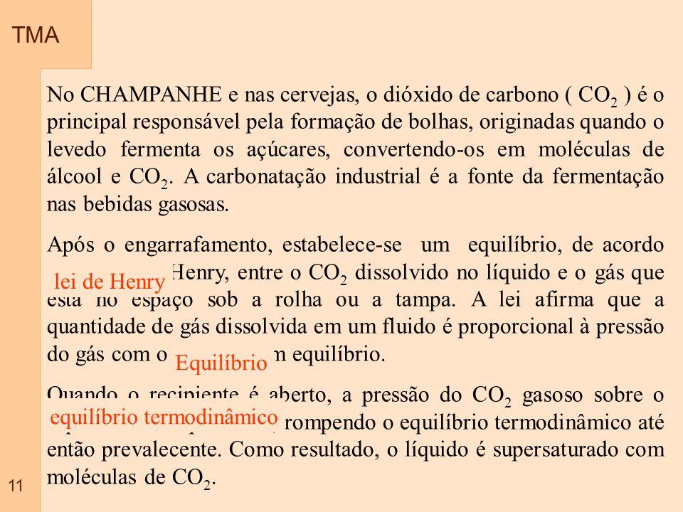 TMA 11 No CHAMPANHE e nas cervejas, o dióxido de carbono ( CO 2 ) é o principal responsável pela formação de bolhas, originadas quando o levedo fermen