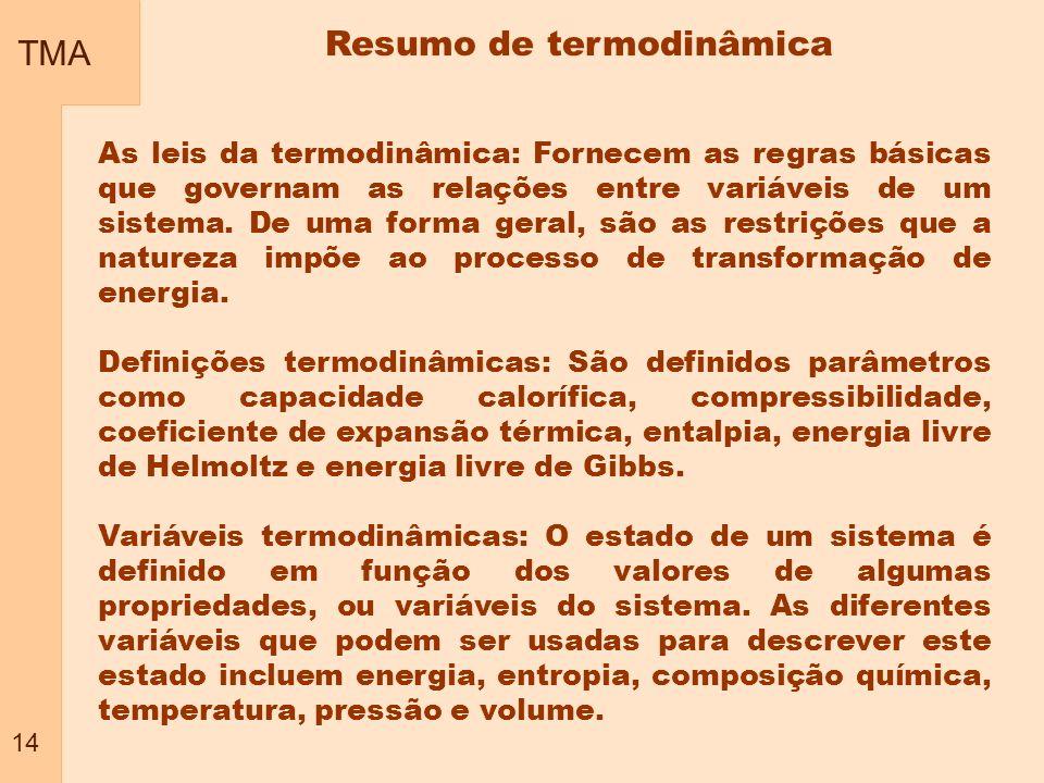 TMA 14 Resumo de termodinâmica As leis da termodinâmica: Fornecem as regras básicas que governam as relações entre variáveis de um sistema. De uma for