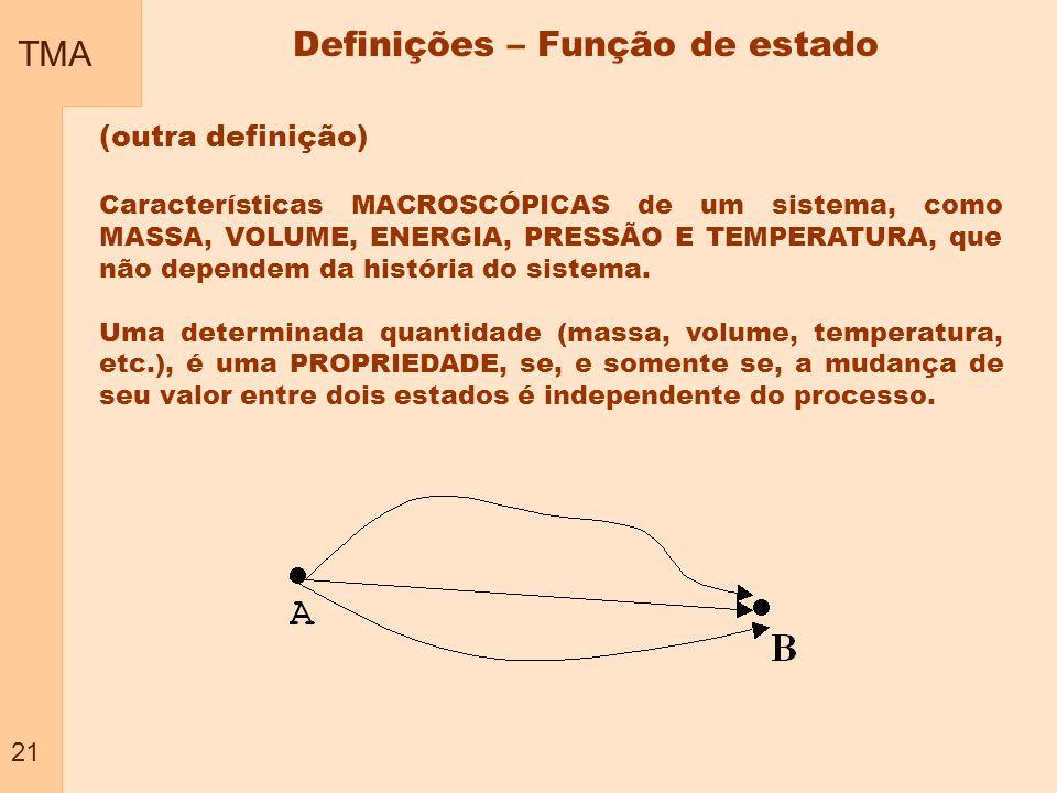 TMA 21 Definições – Função de estado (outra definição) Características MACROSCÓPICAS de um sistema, como MASSA, VOLUME, ENERGIA, PRESSÃO E TEMPERATURA