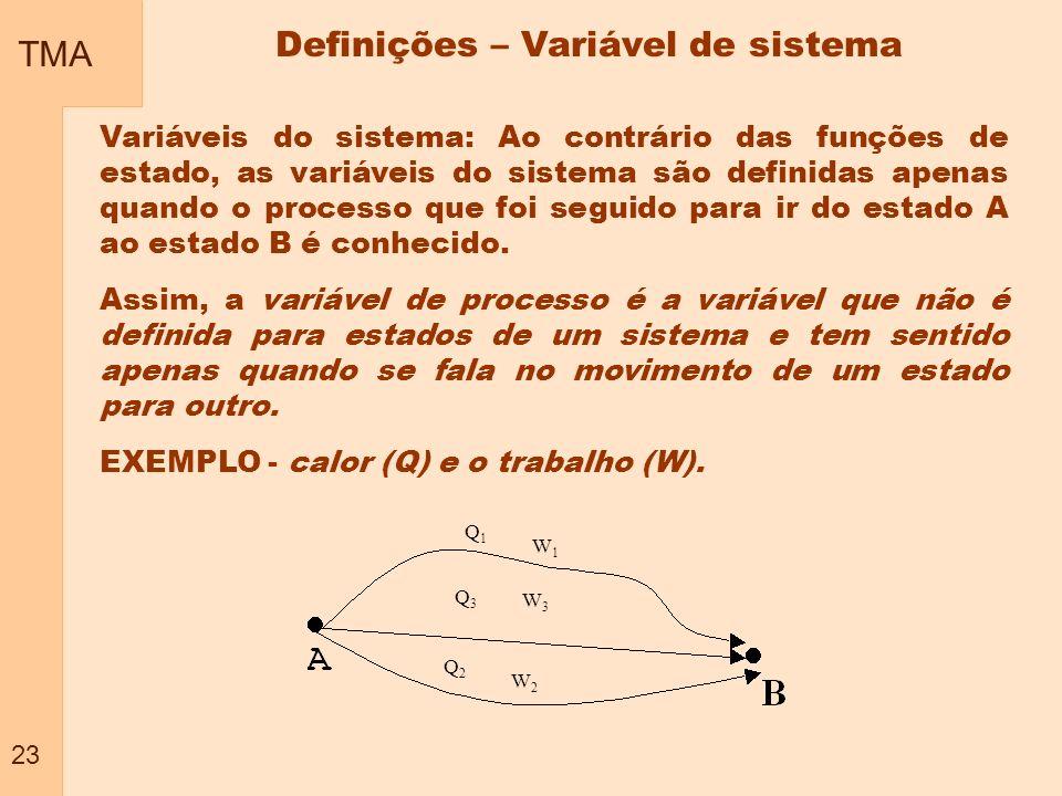 TMA 23 Definições – Variável de sistema Variáveis do sistema: Ao contrário das funções de estado, as variáveis do sistema são definidas apenas quando