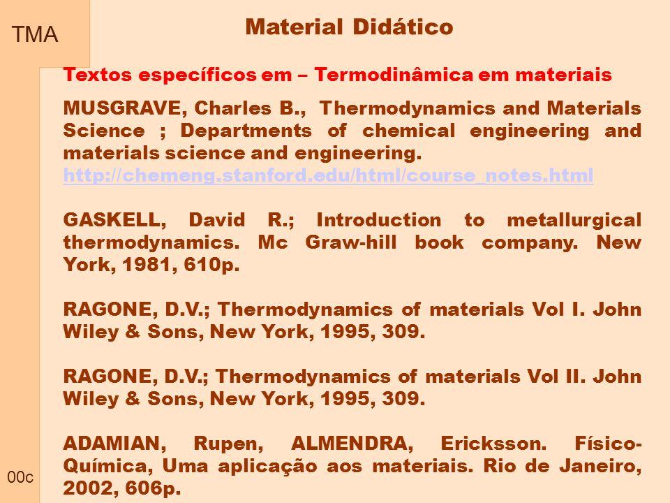 TMA 00c Material Didático Textos específicos em – Termodinâmica em materiais MUSGRAVE, Charles B., Thermodynamics and Materials Science ; Departments