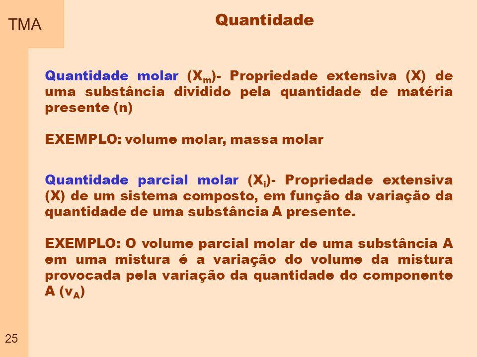 TMA 25 Quantidade Quantidade molar (X m )- Propriedade extensiva (X) de uma substância dividido pela quantidade de matéria presente (n) EXEMPLO: volum