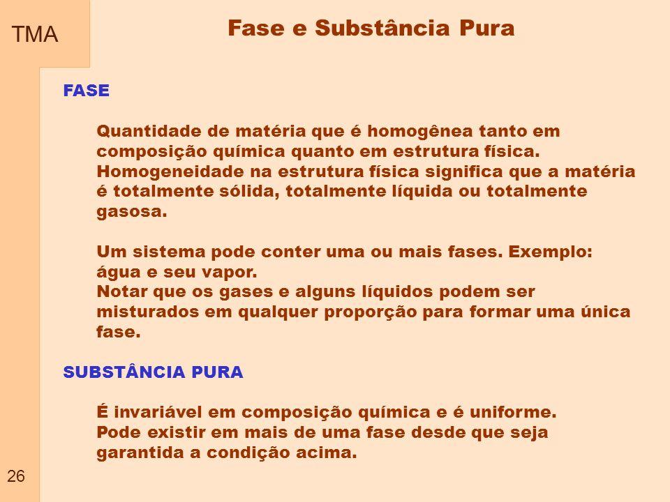 TMA 26 Fase e Substância Pura FASE Quantidade de matéria que é homogênea tanto em composição química quanto em estrutura física. Homogeneidade na estr